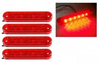 ЛЕД LED Червен Диоден Маркер Габарит Токос със 6 светодиода за камион ремарке бус ван 12V-24V