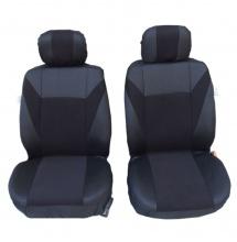 1+1 Комплект Универсални Калъфи/Тапицерия За Предни Седалки На Автомобил, Бус , Джип - тъмно сиво с черно - текстил