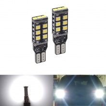 LED Лед Крушки За Габарит, 15 SMD, Т10 W5W, Canbus, 12V, Бяла Светлина
