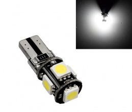 Лед Крушки За Габарит, Т10 W5W LED 5 SMD, Canbus, 12V, Бяла Светлина