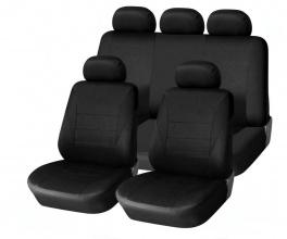 Калъфи/тапицерия за предни и задни цели седалки, Пълен комплект, Универсални, Черни