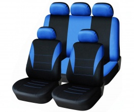 Универсална Авто тапицерия, калъфи за седалки, пълен комплект  9 части, Синьо - Черно