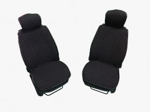 1+1 комплект плътни текстилени калъфи / тапицерия за седалки - черни с червен конец