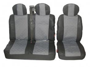 Универсални калъфи/тапицерия 2-1 за предни седалки Черно-Сиви - Текстил/Еко кожа