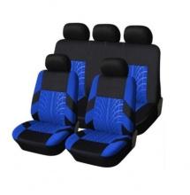 Универсална Авто тапицерия, калъфи за седалки, пълен комплект, 9 части, синьо - черна