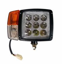 Десен LED Фар с Мигач, Габарит,  Подходящ за Трактор, Комбайн, Багер, Снегорин и др - 9 диода