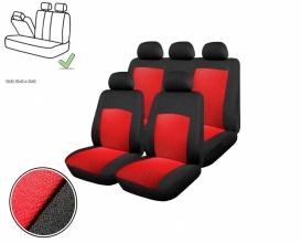 Универсална Авто тапицерия, калъфи за седалки, пълен комплект делима задна седалка с цип червена