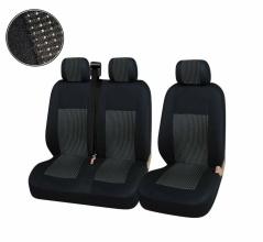 2+1 Лукс Калъфи В Черно За Седалки за Mercedes Sprinter Vito Vw Crafter T5 Ford Transit Peugeot Iveco Премиум Плат