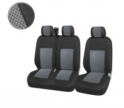 2+1 Лукс Калъфи В Сиво За Седалки за Mercedes Sprinter Vito Vw Crafter T5 Ford Transit Peugeot Iveco Премиум Плат