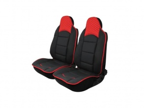 Авто Тапицерия Калъфи за Предни Седалки Черна с Червено Текстил и Кожа