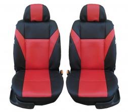1+1 Комплект универсални калъфи / тапицерия за предни седалки на автомобил / бус / джип - еко кожа - червено с черно