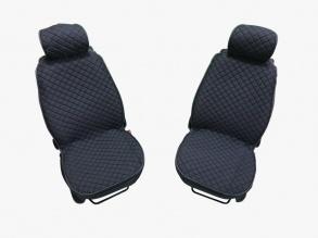 1+1 комплект плътни текстилени калъфи / тапицерия за седалки - цвят графит