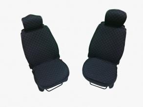 1+1 комплект плътни текстилени калъфи / тапицерия за седалки - черни