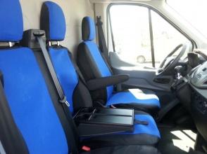 2+1 комплект калъфи / тапицерия - специално ушити за Ford Transit 2013+ - пасват перфектно - с отвор за барчето на двойната седалка - черно и синьо
