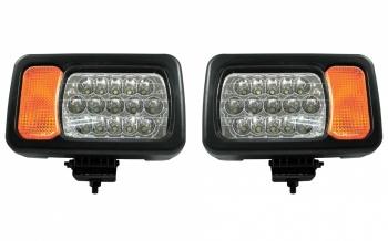 Комплект LED фарове - къси / дълги светлини, мигач, рефлектор - подходящ за трактор, комбайн, багер и др - 16 диода