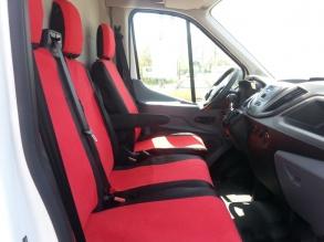 2+1 комплект калъфи / тапицерия - специално ушити за Ford Transit 2013+ - пасват перфектно - с отвор за барчето на двойната седалка - черно и червено