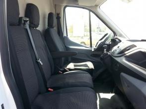 2+1 комплект калъфи / тапицерия - специално ушити за Ford Transit 2013+ - пасват перфектно - с отвор за барчето на седалка - LUXE черно / черно-точки