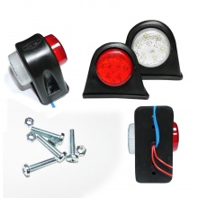 2 броя - 12V LED - Гумени Диодени  Странични Маркери Рогчета Светлини За Камион Ремарке Платформа Бяло Червено