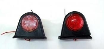 2 броя Гумени Странични Рогчета Маркери Габарити С Крушка За Камион Тир Ремарке- 70мм х 85мм - бяло-червено