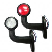 2 Броя LED Диодни Странични Рогчета Маркери Габарити Светлини За Камион Тир Ремарке Платформа 12V 24V - бяло-червено
