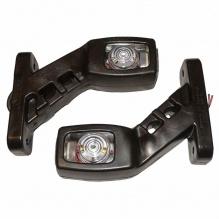 Комплект 2 броя - 14см  - LED странични гумени рогчета / маркери  Габаритни светлини за камиони, тирове и ремаркета - 12V / 24V - бяло oранжево червено