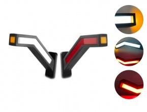 """Комплект LED Габарити, Светлини Тип Рогче, Странични, Неон Ефект, """"Бягащ"""" Режим,  за Камион, Ремарке 12/24V, 22 см"""