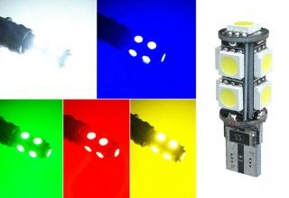 LED Лед Диодни Крушки За Габарит, Т10-5050 W5W, 9 SMD, 12V, 5 Цвята Светлина