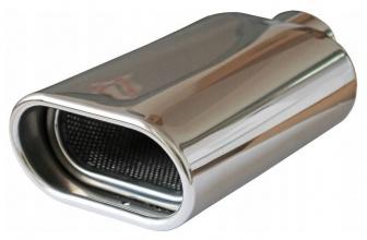 Универсален накрайник за ауспух,  плосък овал 120 х 65 мм , вход макс 52мм - полирана неръждаема стомана