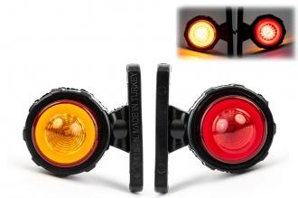 Комплект 2 броя Рогчета, Неон Ефект, Гумени Странични Маркери, Габаритни Светлини за Камион ТИР Ремарке, 67мм х 61мм, 12V - 24V