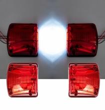 Комплект 2 в 1 - LED Oсветление Лед Плафон за Регистрационен Номер и Заден Червен Габарит с Неон Ефект 12V-24V, 135 мм x 123 мм