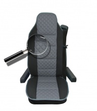 Универсален калъф за седалка на камион - релефен - еко кожа и текстил - Volvo, DAF, Man, Scania, Mercedes, Iveco - СИВО