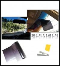 Черен, сенник тип лента 20х150см  Авто Фолио за затъмняване на стъкла, прозорци