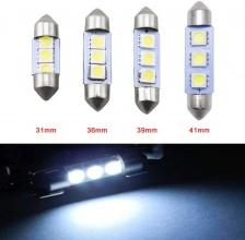 LED Лед Диодни Крушки, 3 SMD 5050 , 31мм, 36мм, 39мм, 41мм, 12V, Бяла Светлина