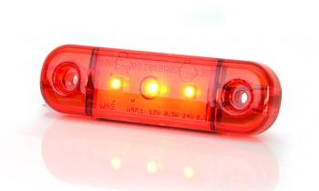 LED Светодиоден Габарит, Маркер, Токос, Червен, Е-Mark, 3 LED, 12V-24V, 8,4 см
