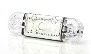 LED Светодиоден Габарит, Маркер, Токос, Бял, Е-Mark, 3 LED, 12V-24V, 8,4 см