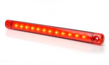 LED Светодиоден Габарит, Маркер, Червен, Е-Mark, 12 LED, 12V-24V, 24 см