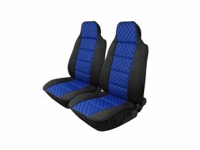 1+1 Универсални калъфи за предни седалки тип масажор - модел пчелена пита - еко кожа и текстил - черно със синьо