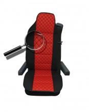 Универсален калъф за седалка на камион - релефен - еко кожа и текстил - Volvo, DAF, Man, Scania, Mercedes, Iveco - червено с черно