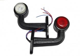 2 Броя LED Диодни Странични Рогчета Маркери Габарити Светлини За Камион Тир Ремарке Платформа 12V  Бяло Червено