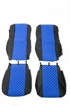 Комплект кожена тапицерия за даф DAF xf 106 евро euro 6 синьо - черно Нова