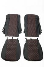 Комплект кожена тапицерия за даф daf xf 106 евро euro 6, черно/червено