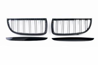 Бъбреци Решетки Двойни Ребра за БМВ BMW Е90 Е91 05-08 Черен Гланц Преди Фейслифта