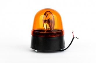 Въртяща Сигнална Аварийна Оранжева Лампа Маяк с Крушка 12V - 24V,  Ø 146mm