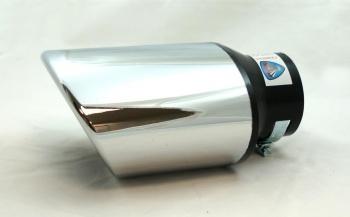 Универсален накрайник за ауспух на автомобил, 38-57мм, Дължина 16.5см, Хром