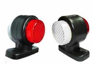 2 броя - 12V  24V LED - Гумени Странични Рогчета Маркери - габаритни светлини за камион тир  ремарке - 85мм х 80мм - бяло-червено