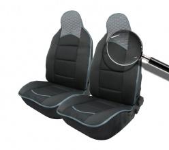 Комплект Универсална Тапицерия Тип Масажор 1+1 за Предни Седалки Лукс Черно-Сиво, Текстил и Еко Кожа