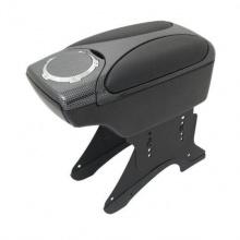 Подлакътник за автомобили с поставка за чаша, универсален, черен с карбон