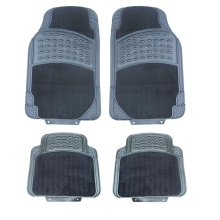 Комплект луксозни автомобилни стелки предни и задни Premium гумени PVC + Мокет 4 Броя