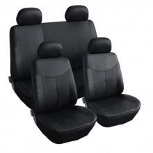 Комплект Калъфи/тапицерия за автомобил Flexzon, За предни и задни седалки, Еко кожа, Черни
