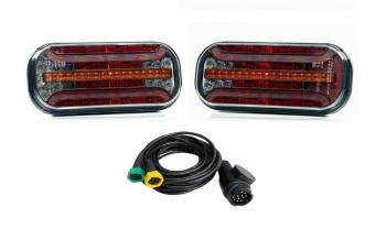 Комплект LED Светодиодни Стопове с Динамичен Мигач, С Букса и Окабеляване,  Ляв и Десен, 7 Функции, Е-Мark, 12V-24V